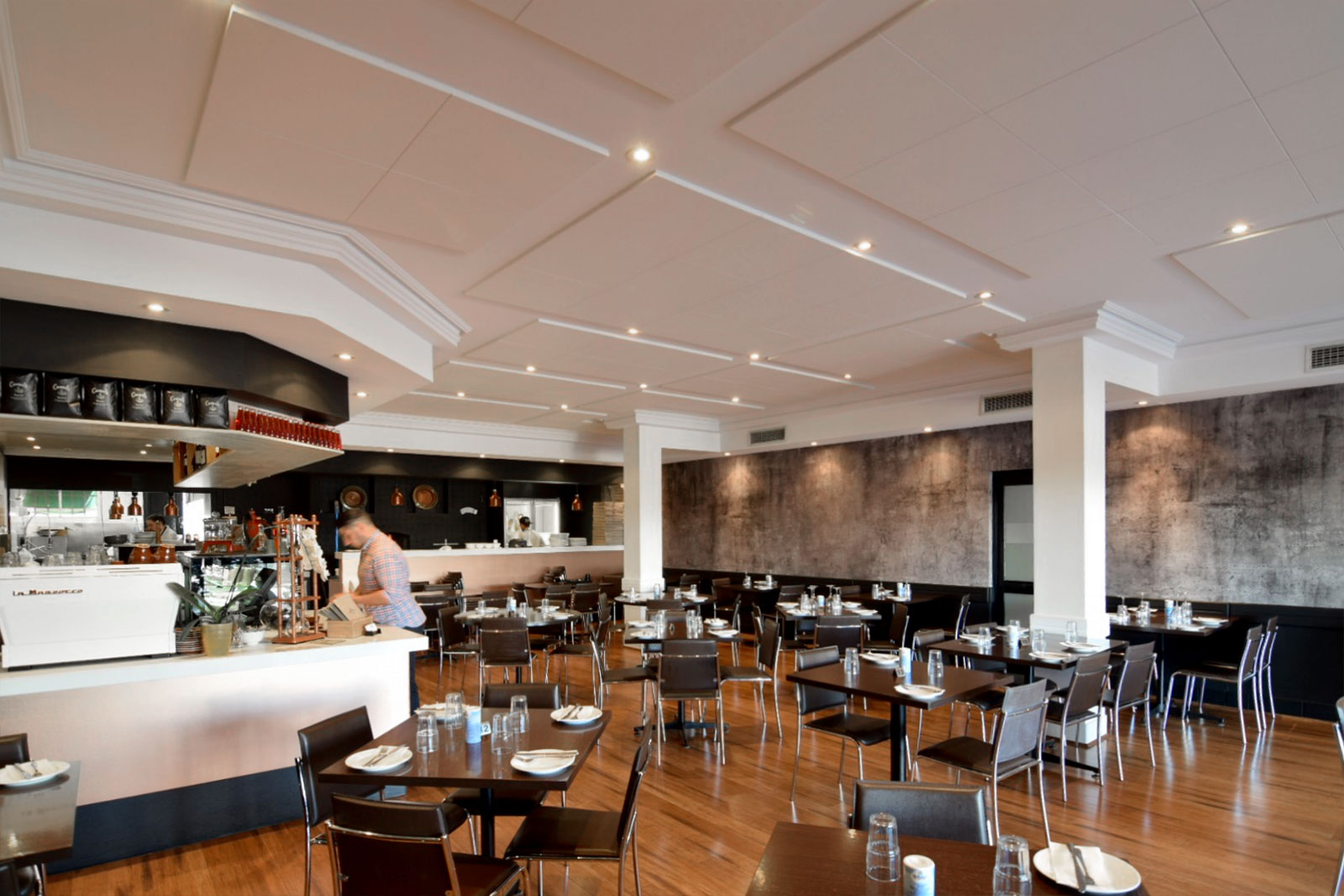 Large restaurant with soundproofing on roof