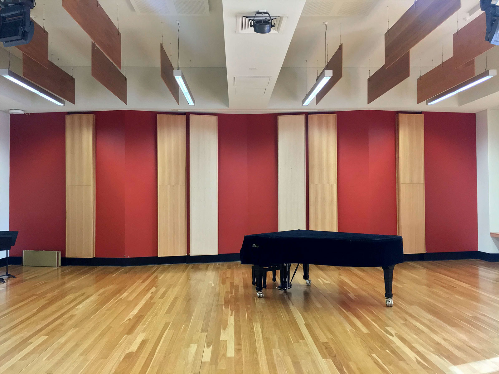 Soundproofed music room with piano