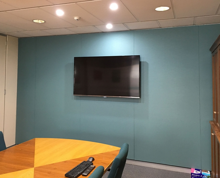 An office boardroom with soundproofing on the walls